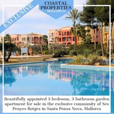 3 bedroom garden apartment sale Santa Ponsa